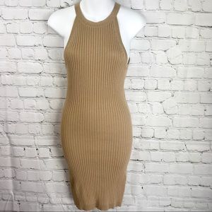 NWT Forever 21 Taupe Ribbed Knit Bodycon Dress